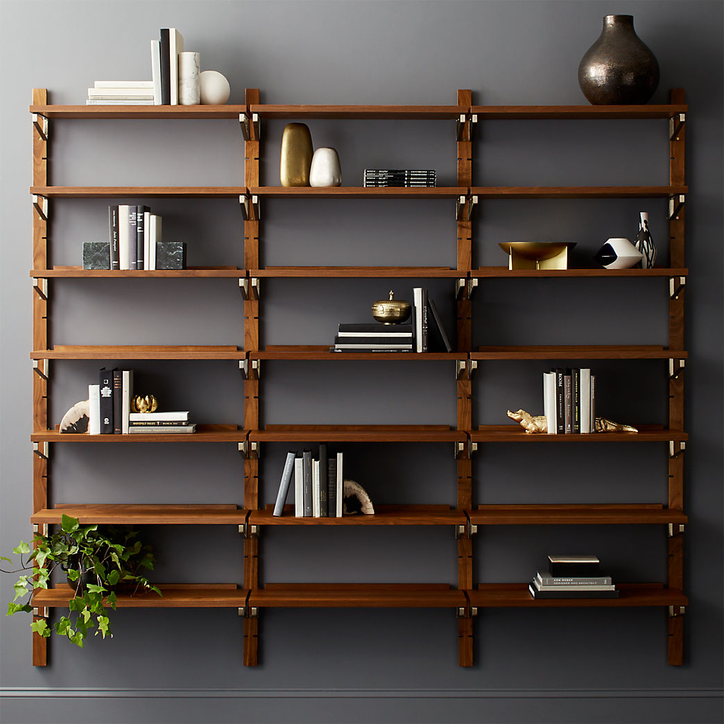 modern shelving and wall mounted storage walnut modular triple shelf floating bookshelf tile edge trim screwfix rustic steel brackets ikea ektorp slipcover big shelves barnwood