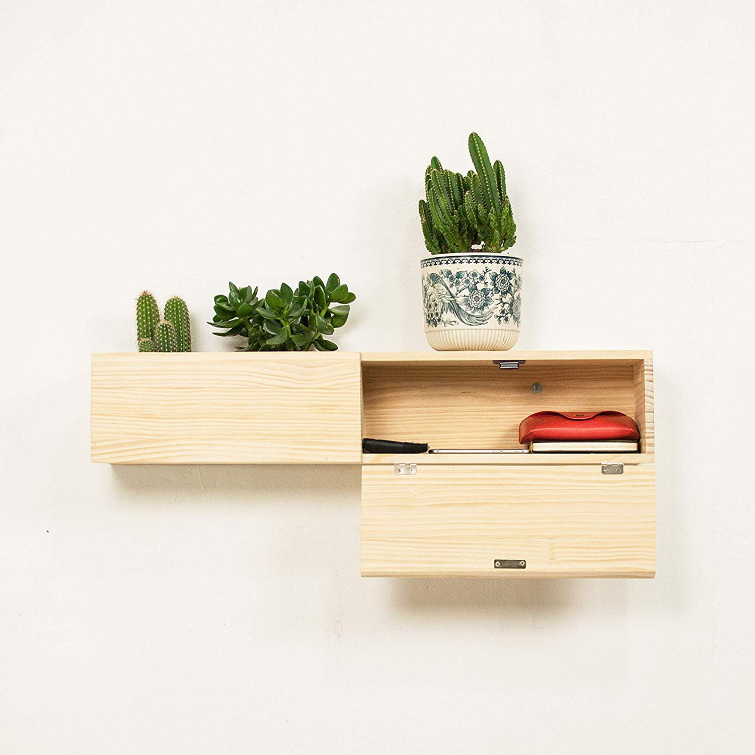 modern wooden floating shelf with drawer and planter box handmade self adhesive floor boards rolling microwave cart bathroom cube storage unit kmart interior bookshelf corner wall