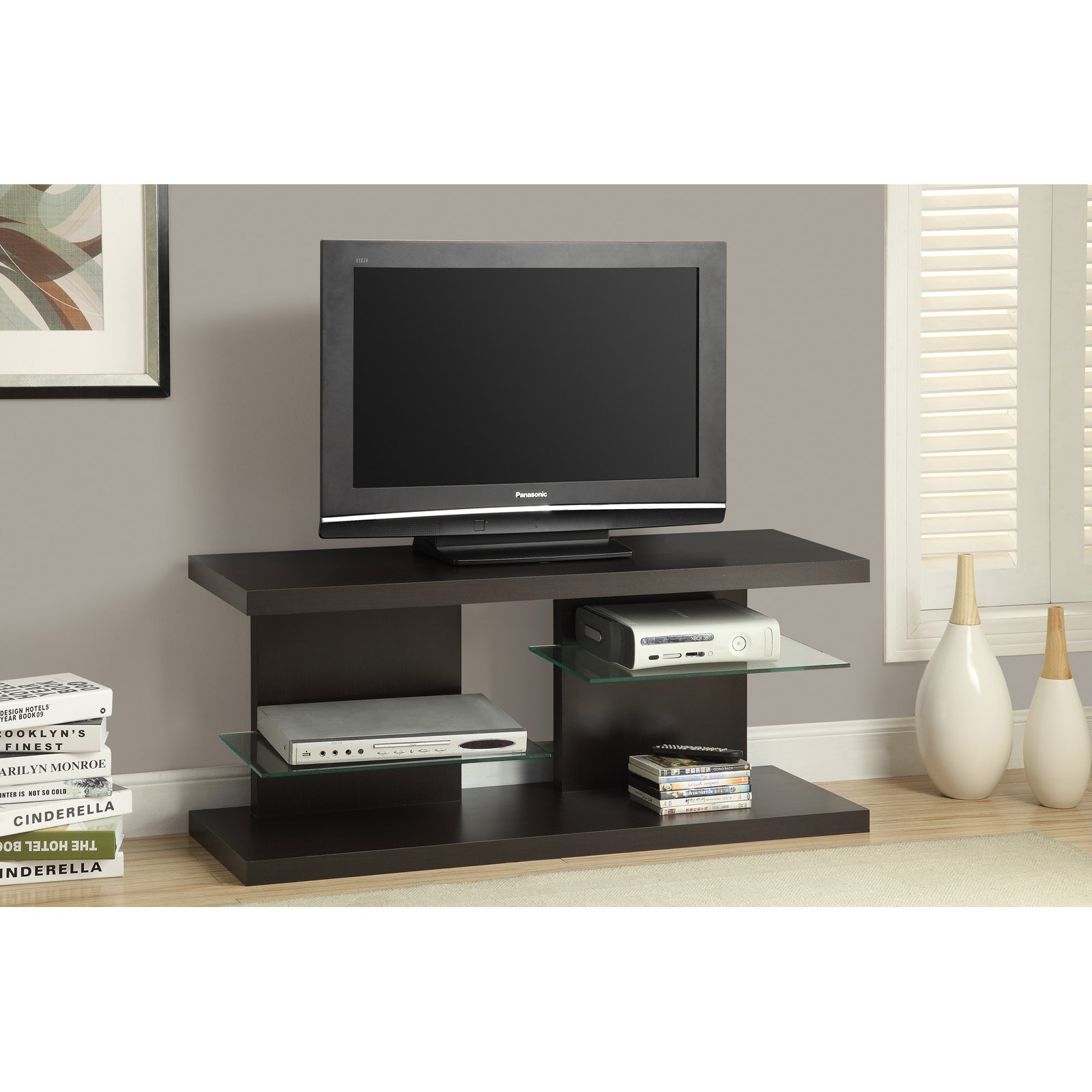 monarch specialties stand with floating glass shelves for electronics ikea lack bookcase hack side shelf brackets bath and beyond hooks corner perth shelving unit wall cable box
