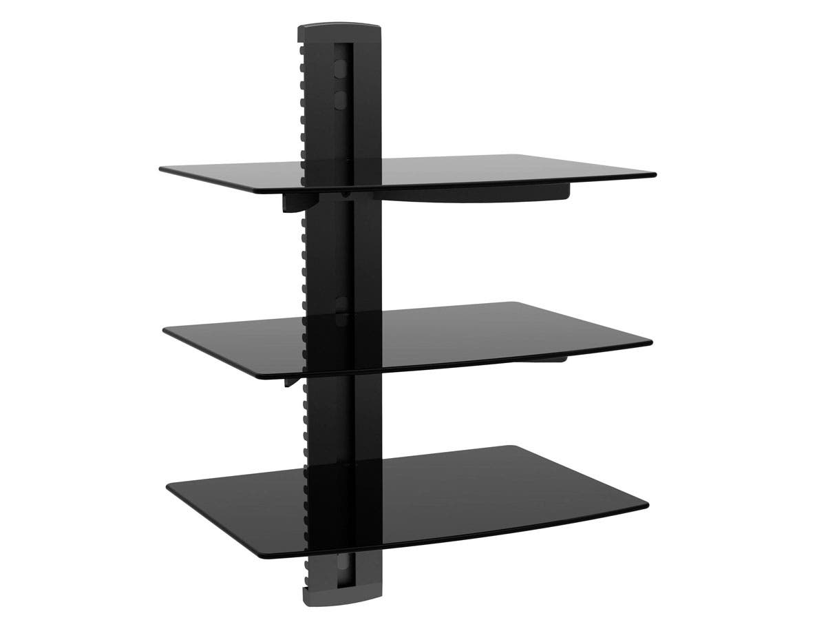 mono tier electronic component glass shelf wall mount bracket floating system with cable management large skinny metal decor for ledges kitchen storage racks dvd black white