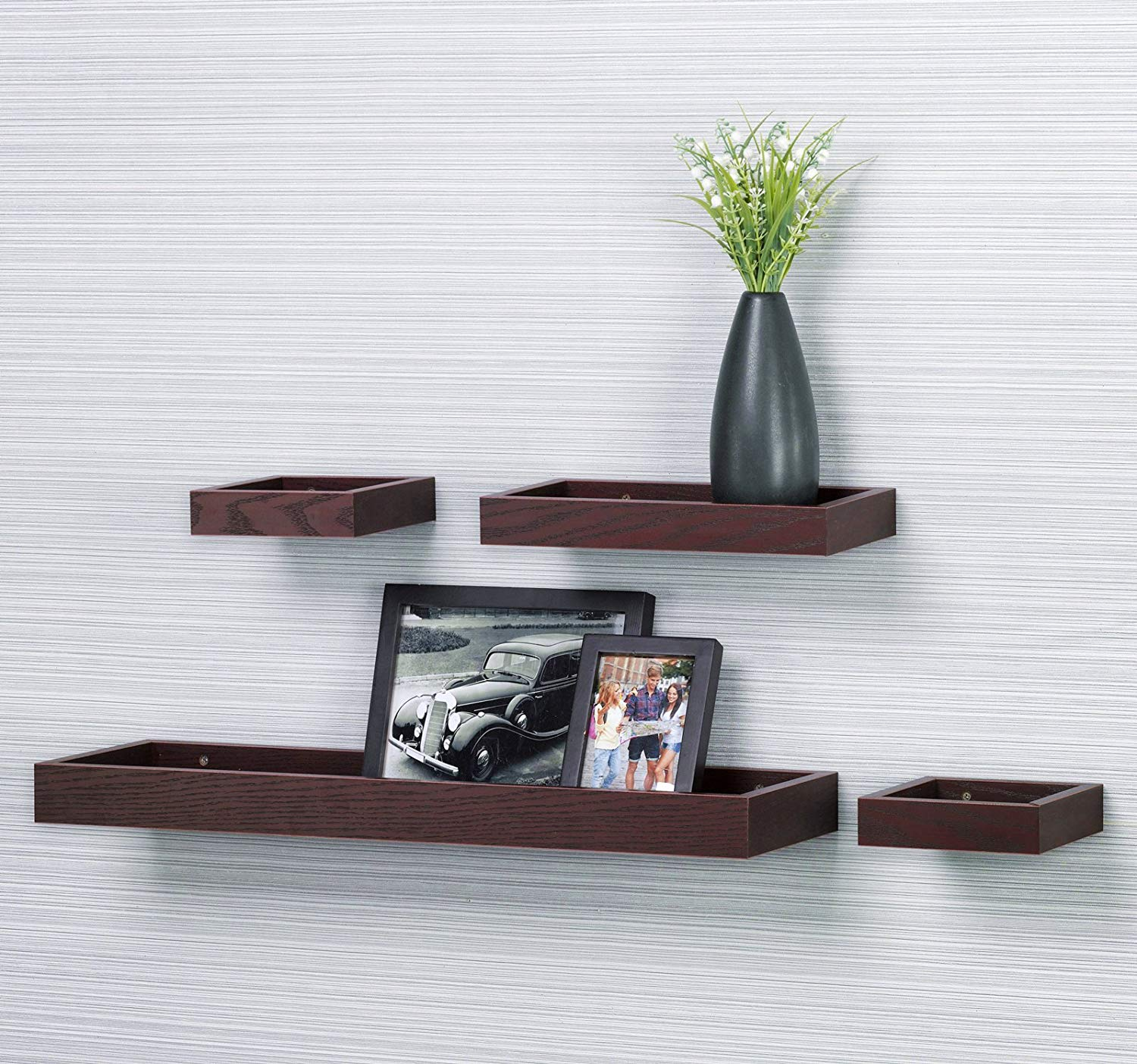 multilength pieces wall shelf floating ledge tray dark cherry shelves furniture red oak length set home kitchen small computer desk white reverse brackets under cabinet cable box