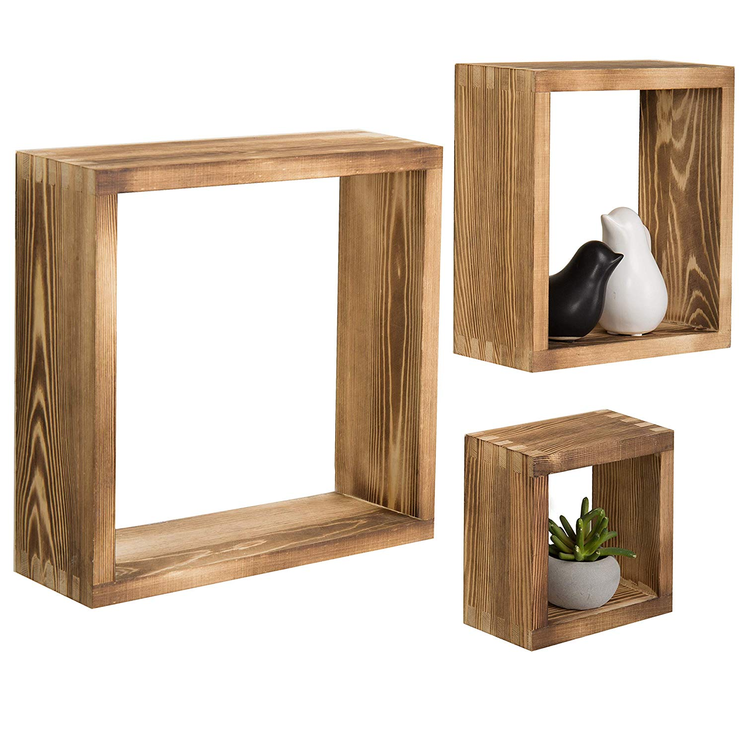 mygift burnt wood wall mounted shadow box square gibsal floating display shelf shelves set home kitchen wrought iron corner stand hanging apartment ikea double desk kmart pool
