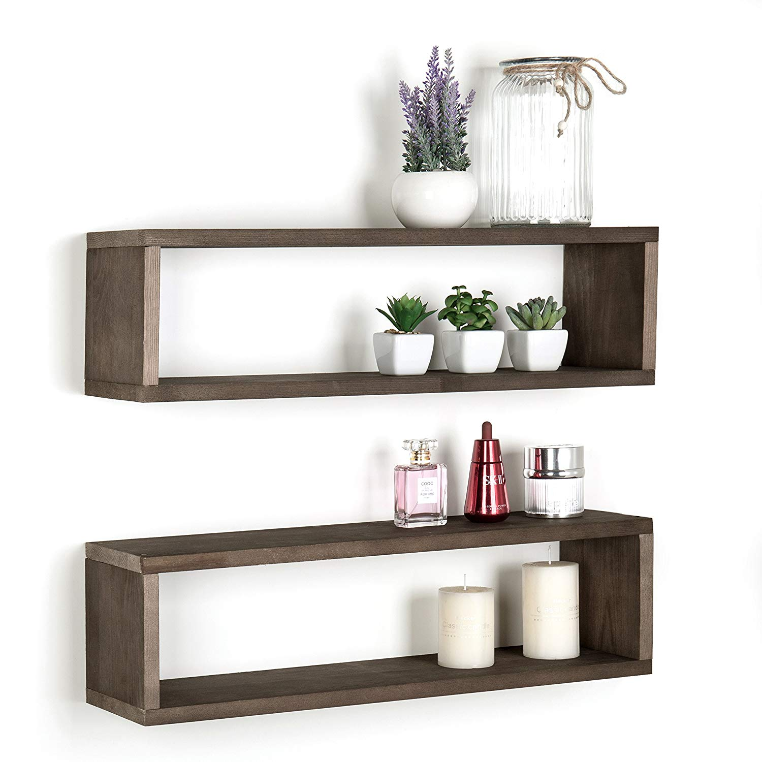 mygift dark brown wood finish wall mounted inch floating shelves and boxes shelf rectangular display shadow set home kitchen cable box mount bedroom closet design ideas modern