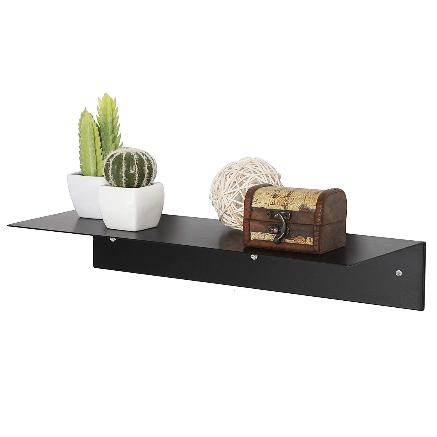 mygift inch modern black metal floating shelf wall mounted display stand hanging organizer rack home kitchen standard fireplace mantel height corner unit closet racks recessed