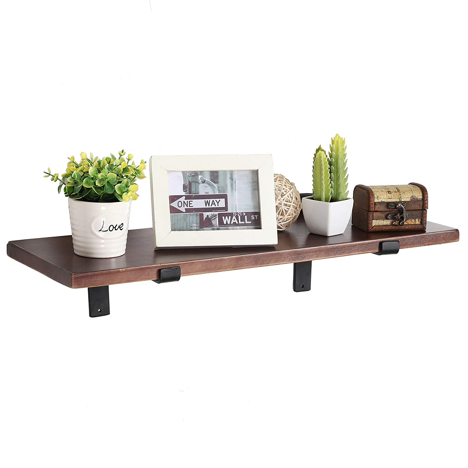 mygift inch wall mounted wood floating shelf with black shelves metal brackets brown home kitchen pottery barn mount bookshelf small desk installing vinyl flooring over plywood