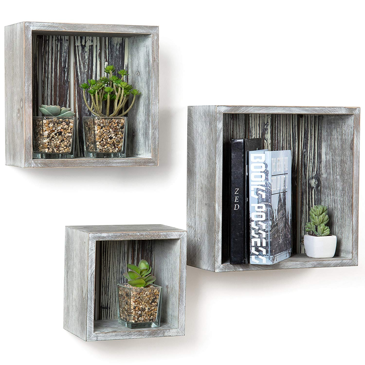 mygift rustic torched wood cube floating shelves set storage shelf home kitchen individual shoe entryway wall mounted coat rack white with hooks ikea open shelving for granite