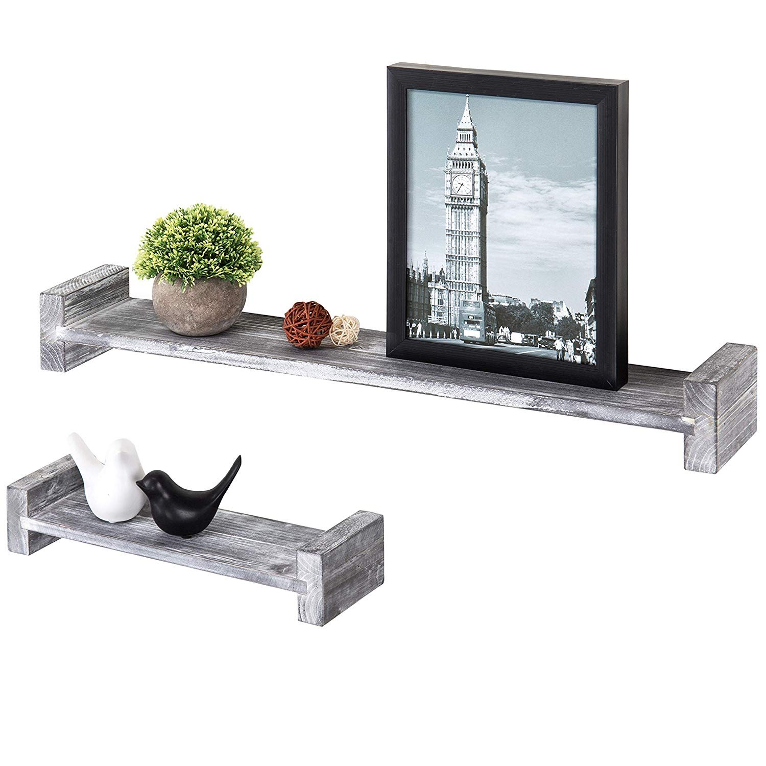mygift set distressed wood wall mounted floating grey shelves inch gray home kitchen shelving bathroom ideas small stand for cable box and dvd player glasgow bracket system big
