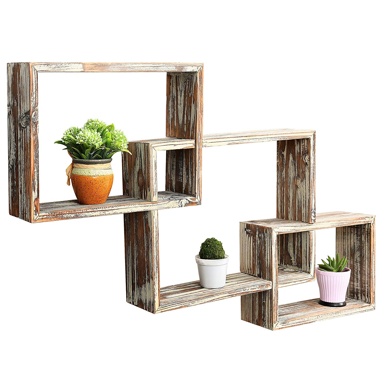 mygift wall mounted country rustic brown interlocking floating wood display shelf shadow box shelves set home kitchen reclaimed pub table small computer desk ikea bathroom cabinet