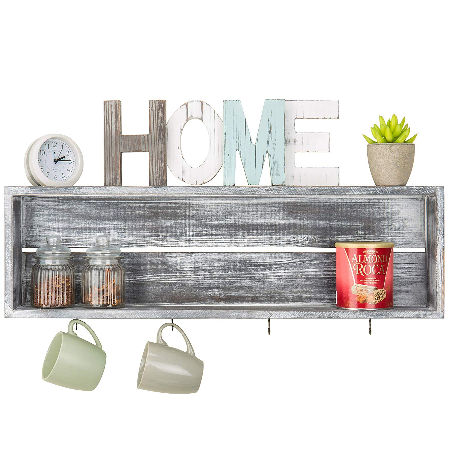 mygift wall mounted distressed grey wood floating shelf gul shelves with mug hooks garage cabinets storage chandelier ceiling light small kitchen island stools narrow ture stand