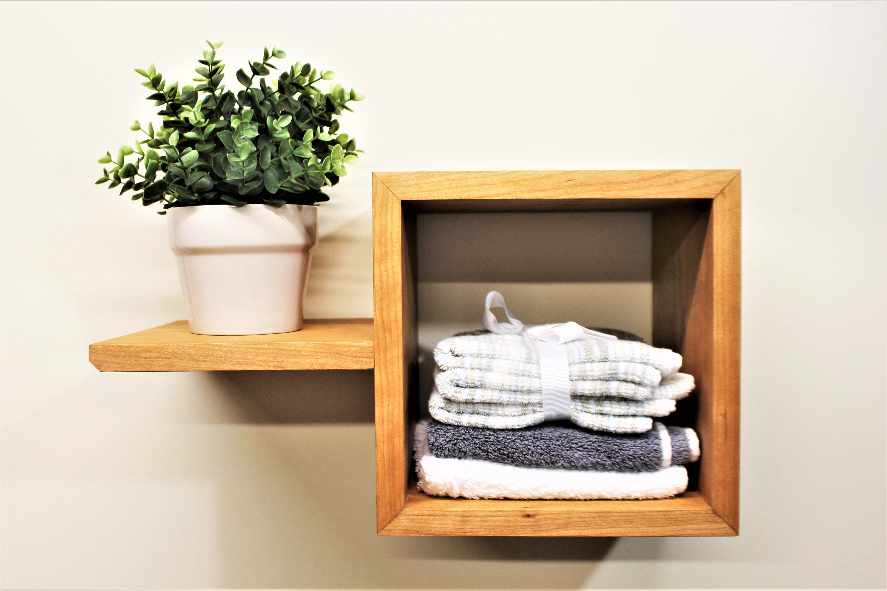 natural finish wooden floating shelf with cubby and accent etsy fullxfull shelves for hallway ture arrangements find coat racks tier metal bookshelf best shredded latex pillow