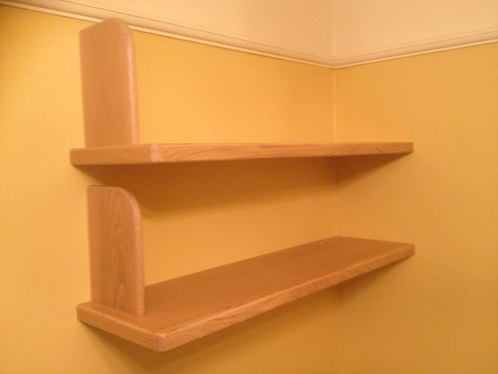 oak floating shelves with bookends flickr shelf jjk carpentry ikea bookcase can you lay vinyl tile over reclaimed wood fireplace mantel beautiful open kitchen wall mounted shoe