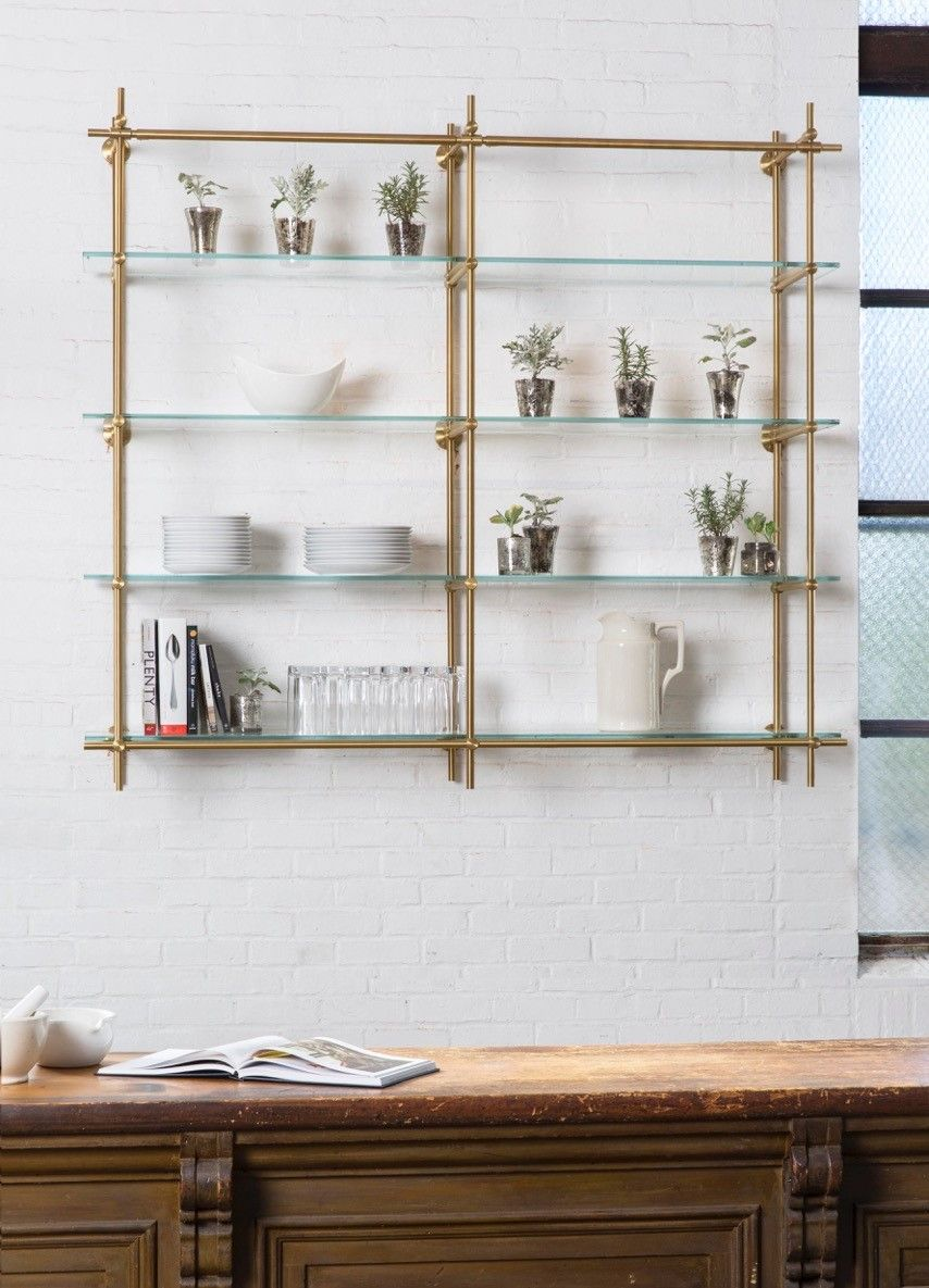 open kitchen shelves using our collector shelving system with floating glass for bathroom the hint green from mixed brass finish make unit best wood bronze shelf french cleat