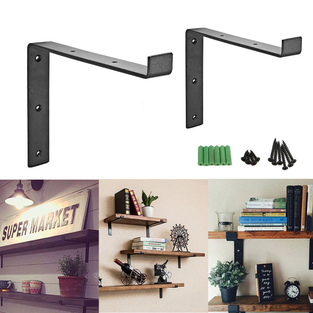 other diy tools pack shape handcrafted forged floating shelf brackets black iron industrial decorative wall desktop bookcases audio video over desk bookshelf hidden compartment