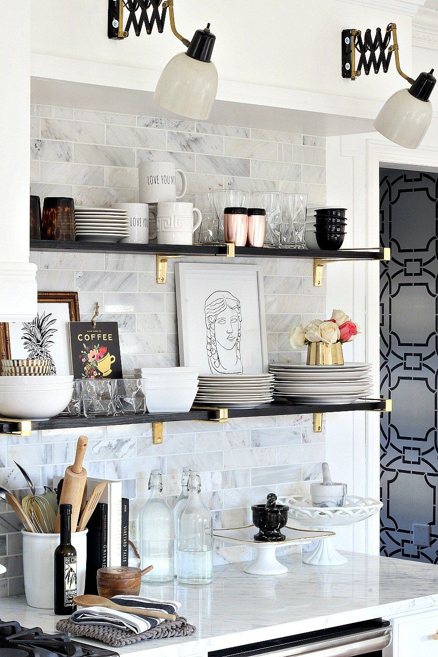 our black gold marble and chic kitchen makeover reveal bloggers floating shelf glam shelving ideas heavy duty invisible brackets notebook computer collapsible wall desk stainless
