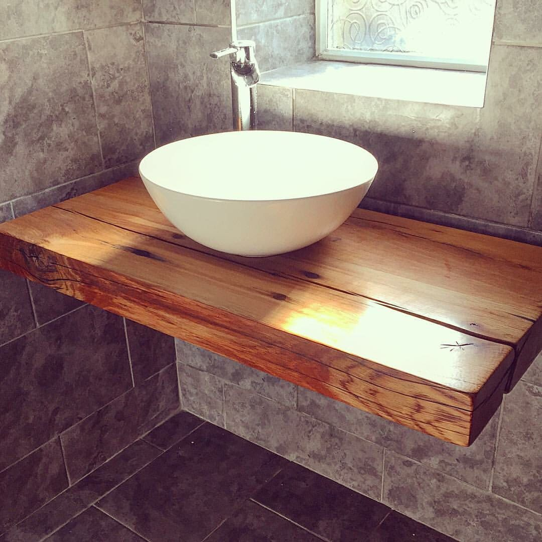 our floating bathroom shelf with vessel bowl sink handcrafted wood for reclaimed railway sleepers from jarabosky halifax black iron brackets wire storage baskets bunnings