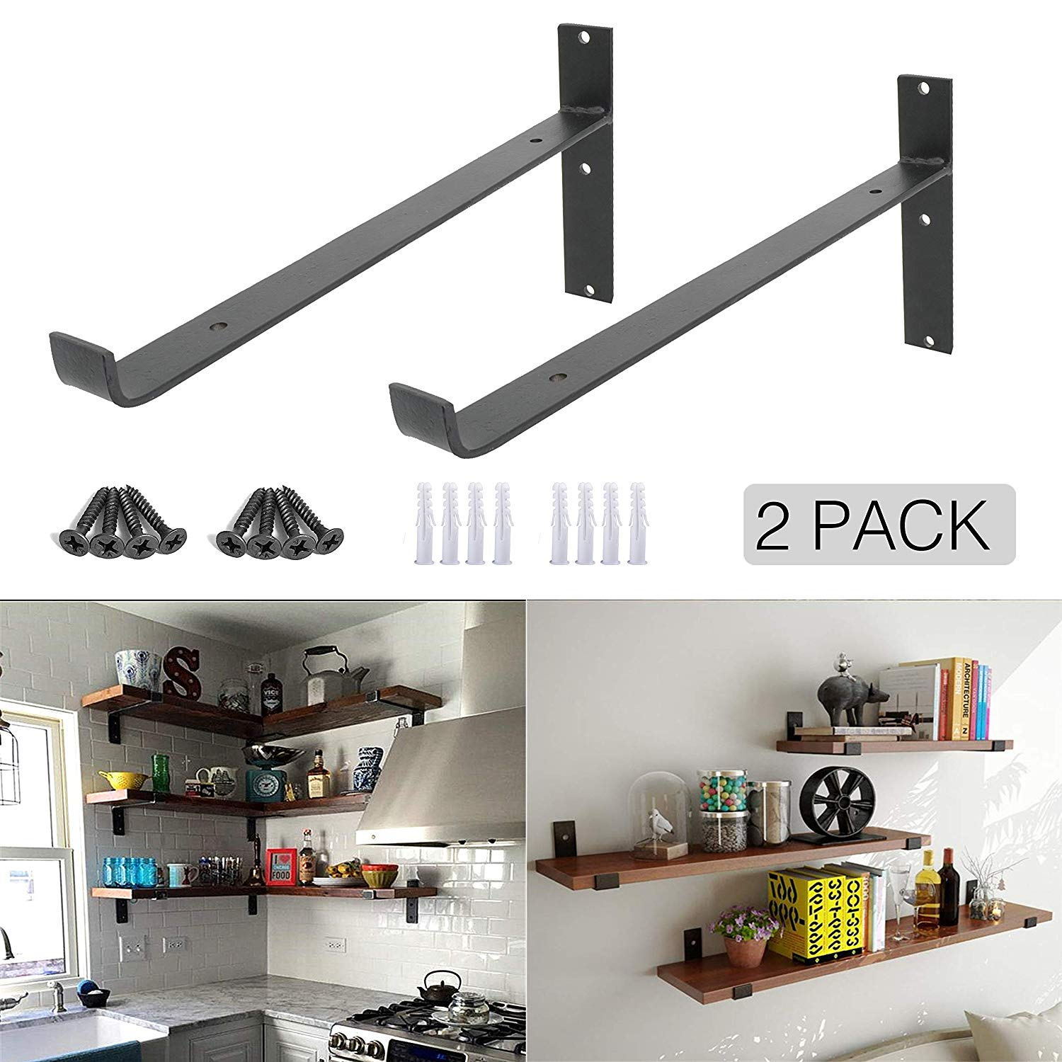 ovov pack iron shelf brackets decorative wall floating hangers mounted hanging angle lip black home improvement dish storage cabinet corner ladder oak laundry shelves garage