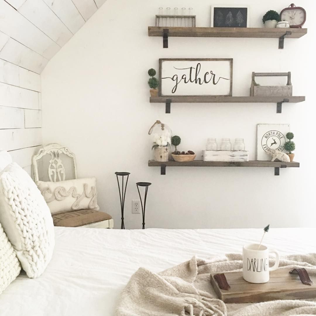 pin erin freitas floating shelves farmhouse master bedroom ideas diy styling projects for that fantastically comfy decor idea number shared reclaimed wood portland fold away