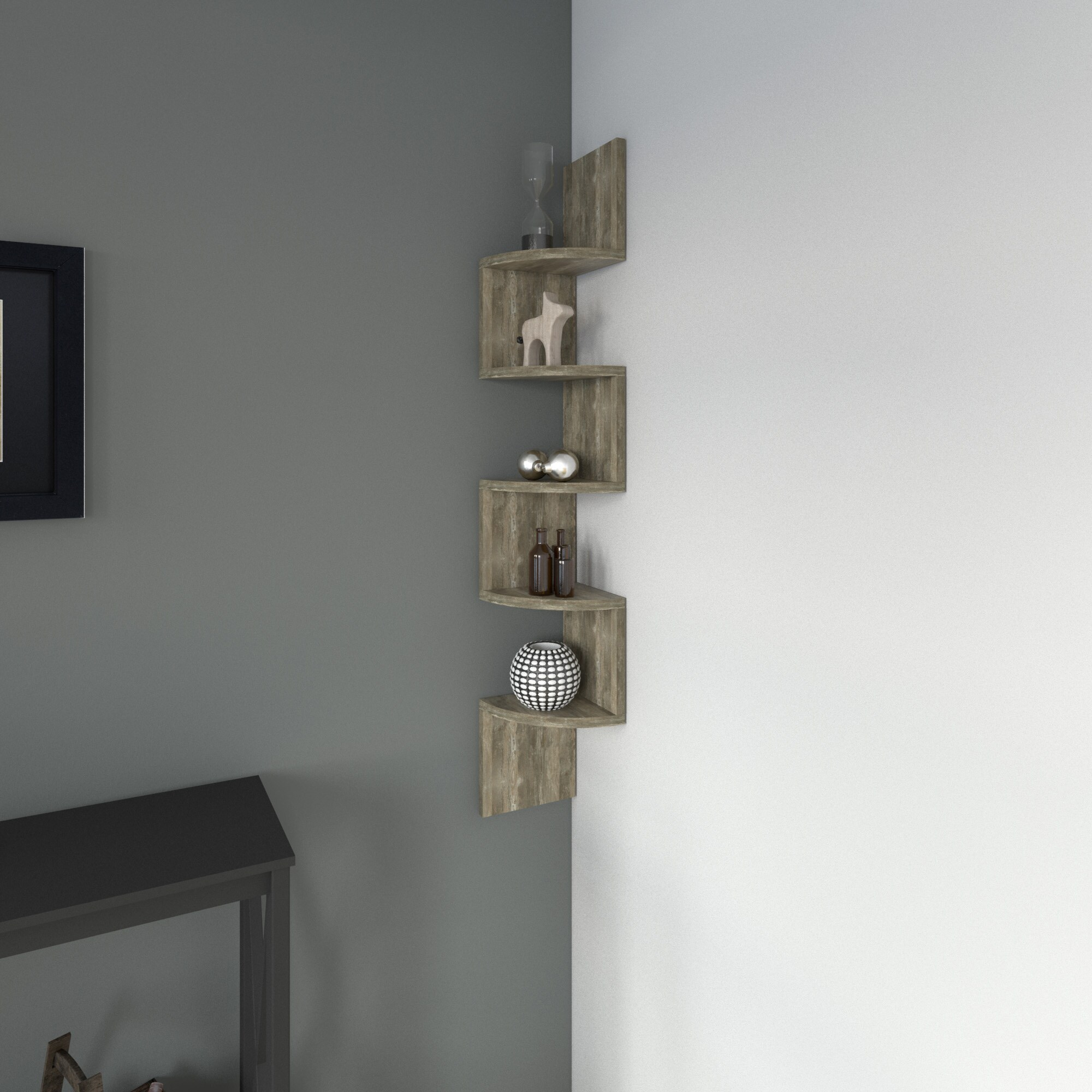 porch den montclair laurel large weathered oak laminate corner wall mount shelf gray floating free shipping orders over light shelving unit small toilet room ideas removable hooks