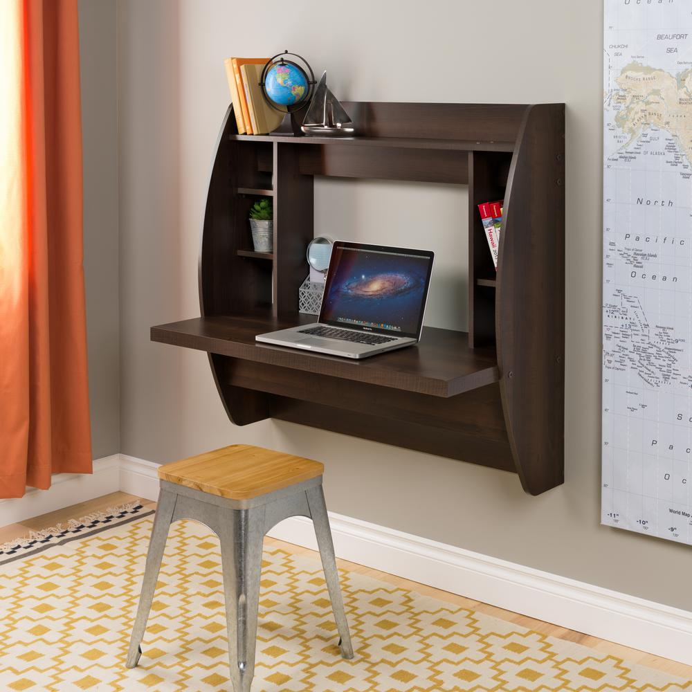 prepac brown desk with shelves eehw the desks floating shelf computer basic office hanging bathroom cabinet over toilet ikea sofa table hack making kitchen mini shoe rack portable