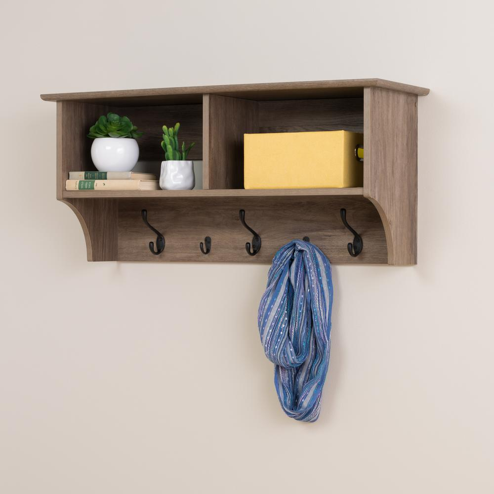 prepac drifted gray wall mounted coat rack the racks floating entryway shelf and cast iron white gloss with compartments bedroom design bookshelf corner underlayment for vinyl