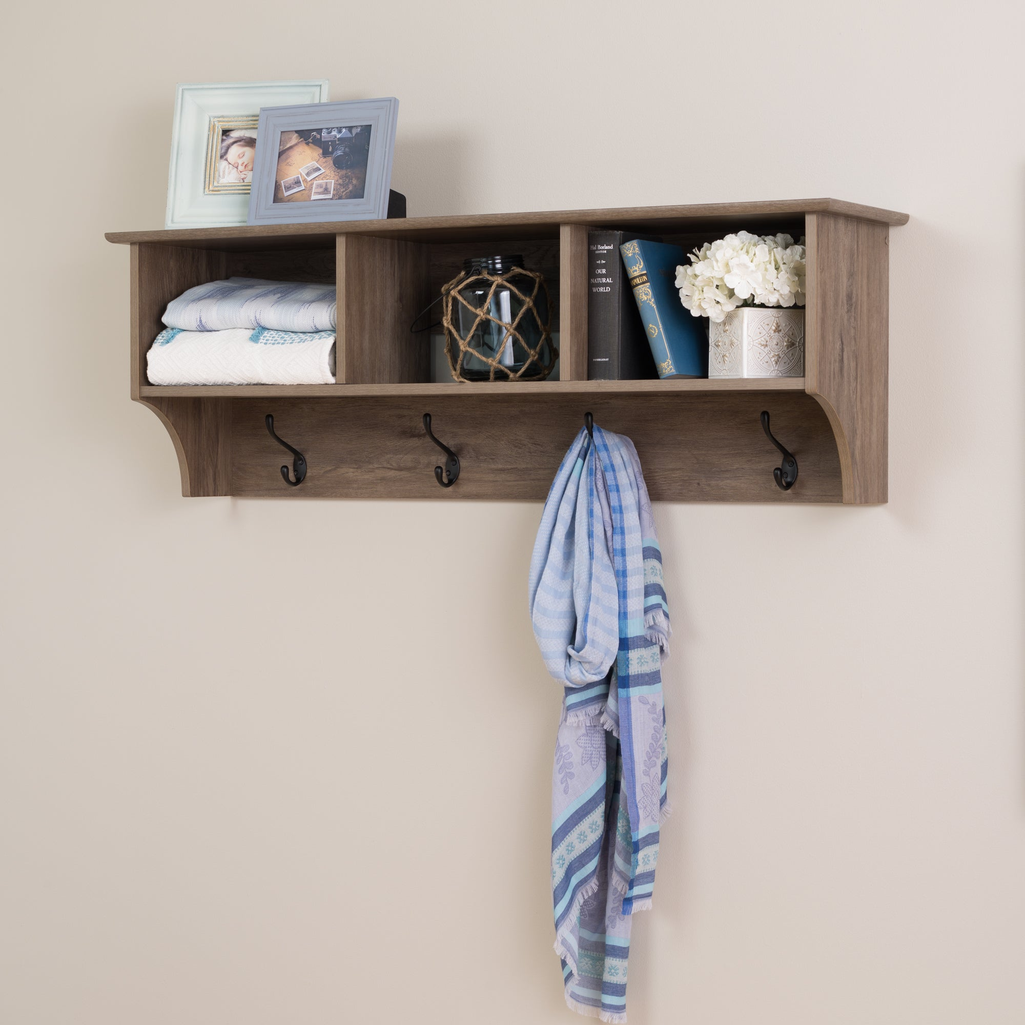 prepac drifted grey wood inch wide floating entryway shelf shelves small kitchen island with stools bathroom toilet makeshift shoe rack closets and cabinets cube wall mounted