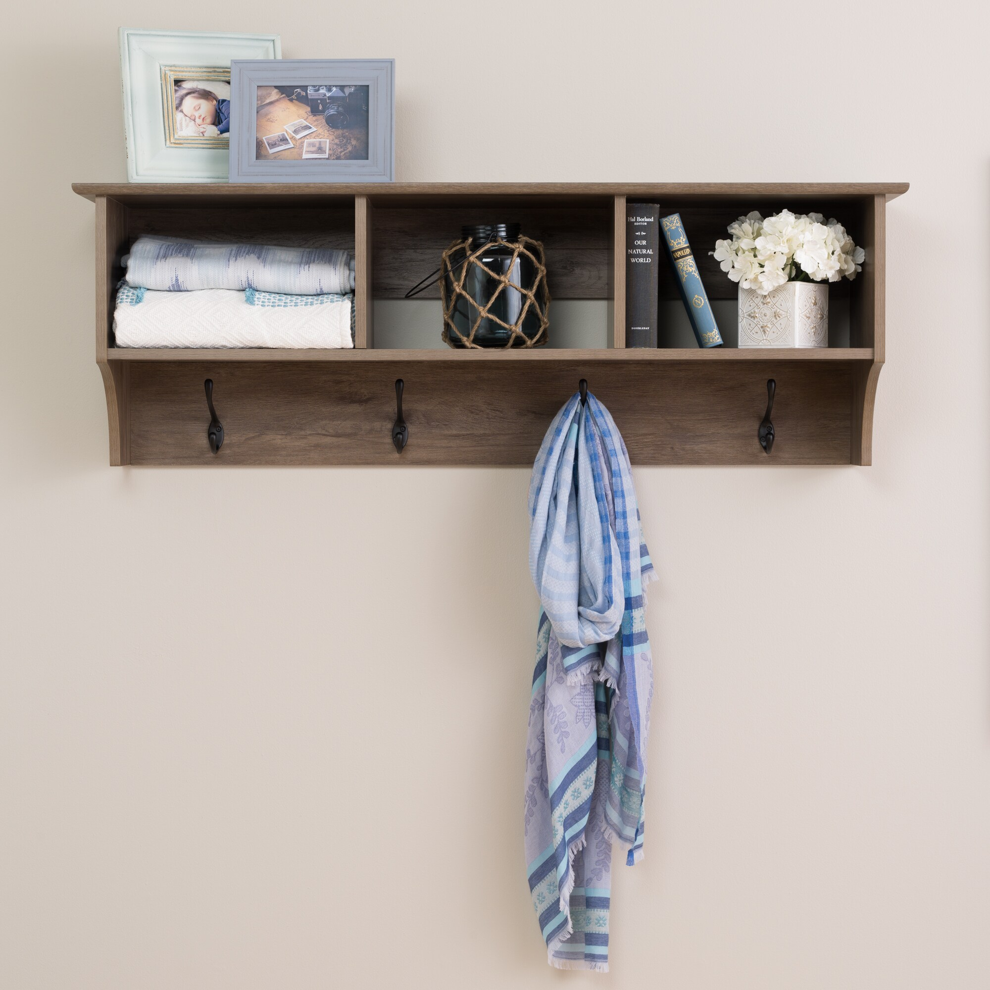 prepac drifted grey wood inch wide floating entryway shelf with bench free shipping today wall shelves for components kitchen cup holder organizer stand storage industrial