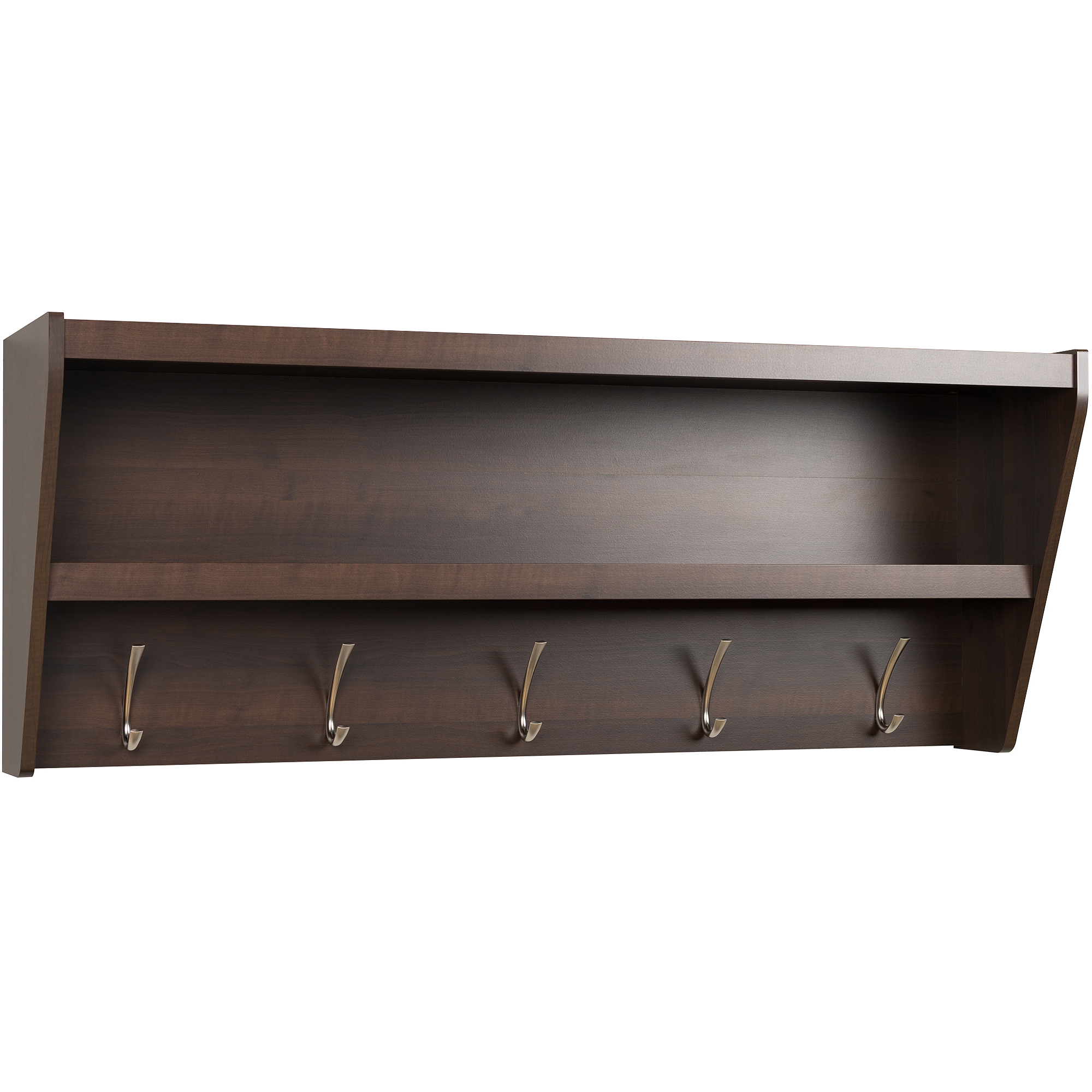 prepac floating entryway shelf and coat rack bookshelf corner pantry cupboard bunnings brackets long side oak wall hanger glass vanity bathroom garage fire mantle display ikea