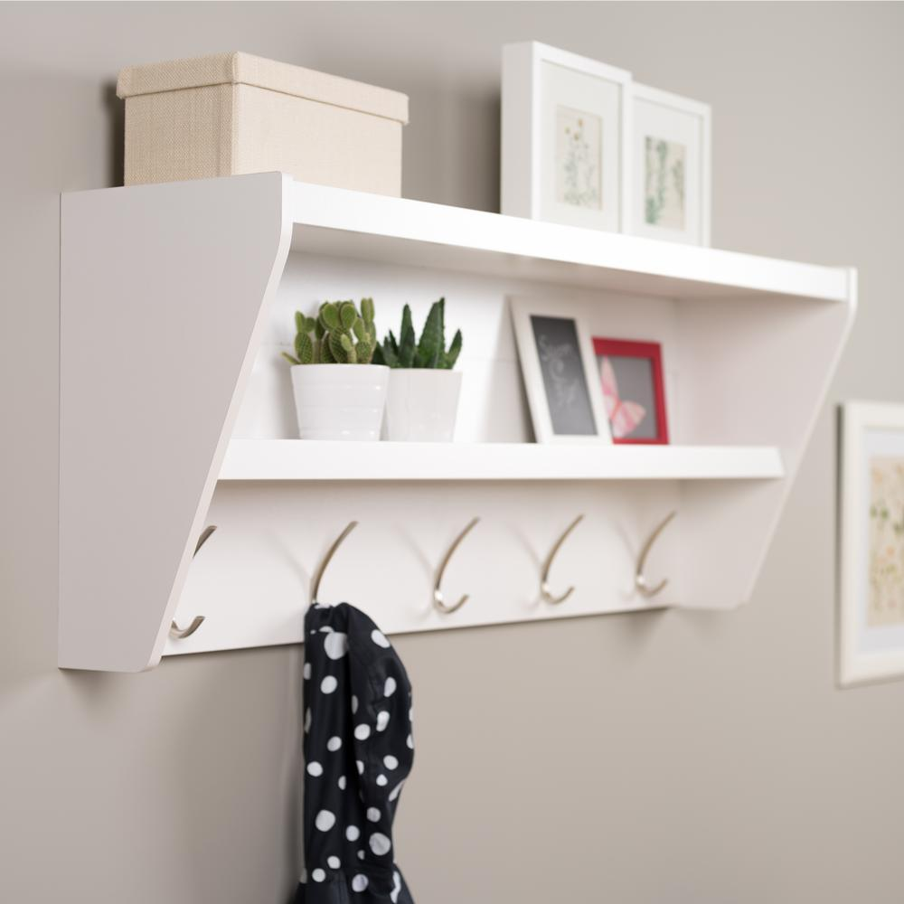 prepac floating entryway shelf and coat rack white racks wucw the gloss computer desk with side shelves compact brackets long installing self stick vinyl floor tiles metal