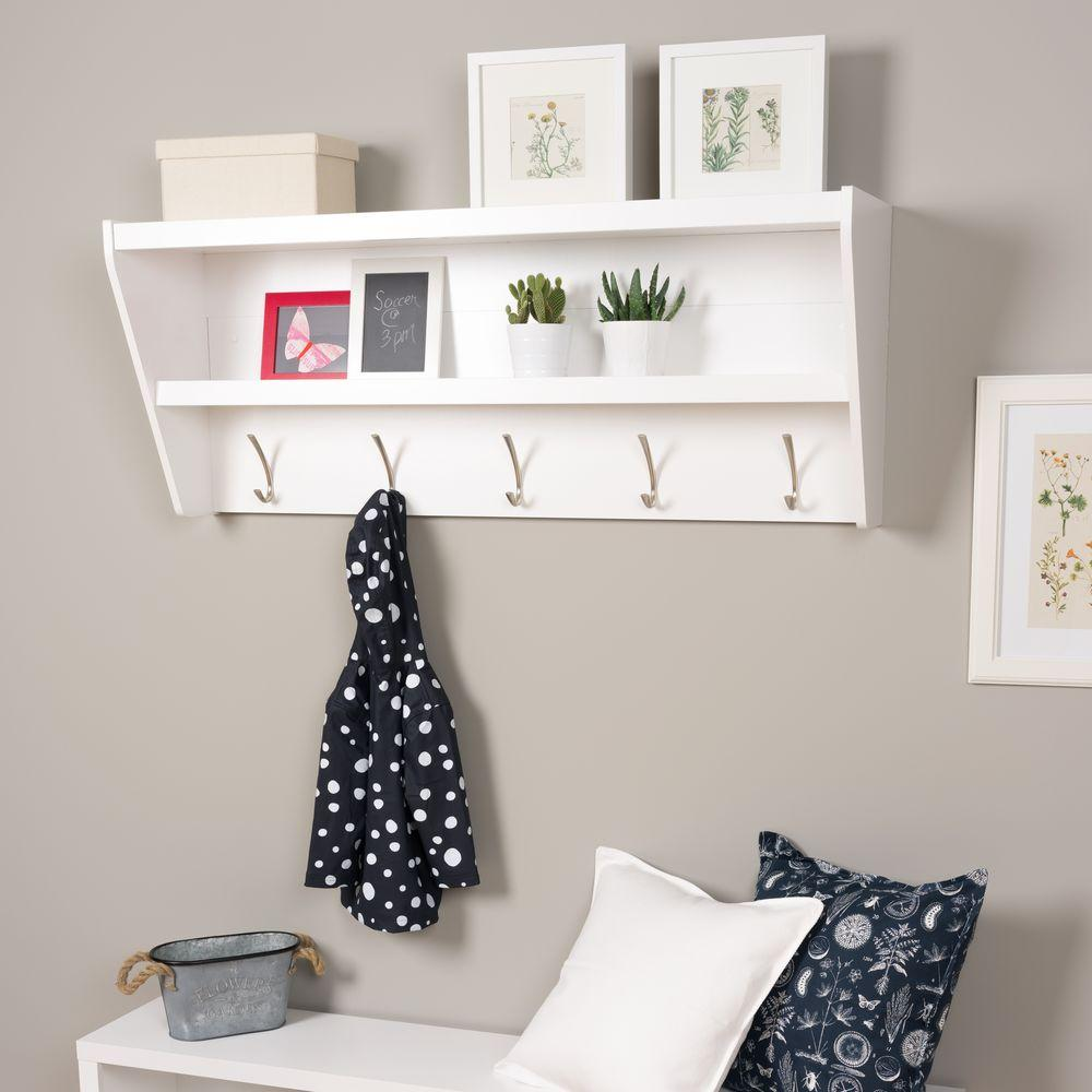 prepac floating entryway shelf and coat rack white racks wucw the kmart plastic storage adhesive liner ikea kitchen cabinet hacks salvaged wood mantel fitting self vinyl floor