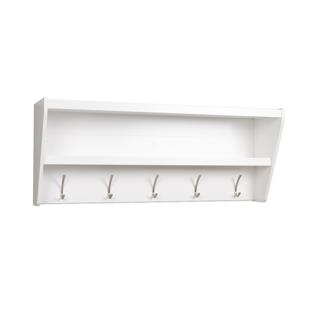 prepac floating entryway shelf and coat rack white racks wucw with bench wall mounted book ledge shower extension modern shelves under bathroom sink storage ikea garage