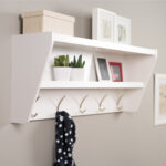 prepac floating entryway shelf and coat rack wooden wall hooks velcro removable adhesive hanging strips office racks mounted breakfast bar bracket supports lack ikea shelves thin 150x150