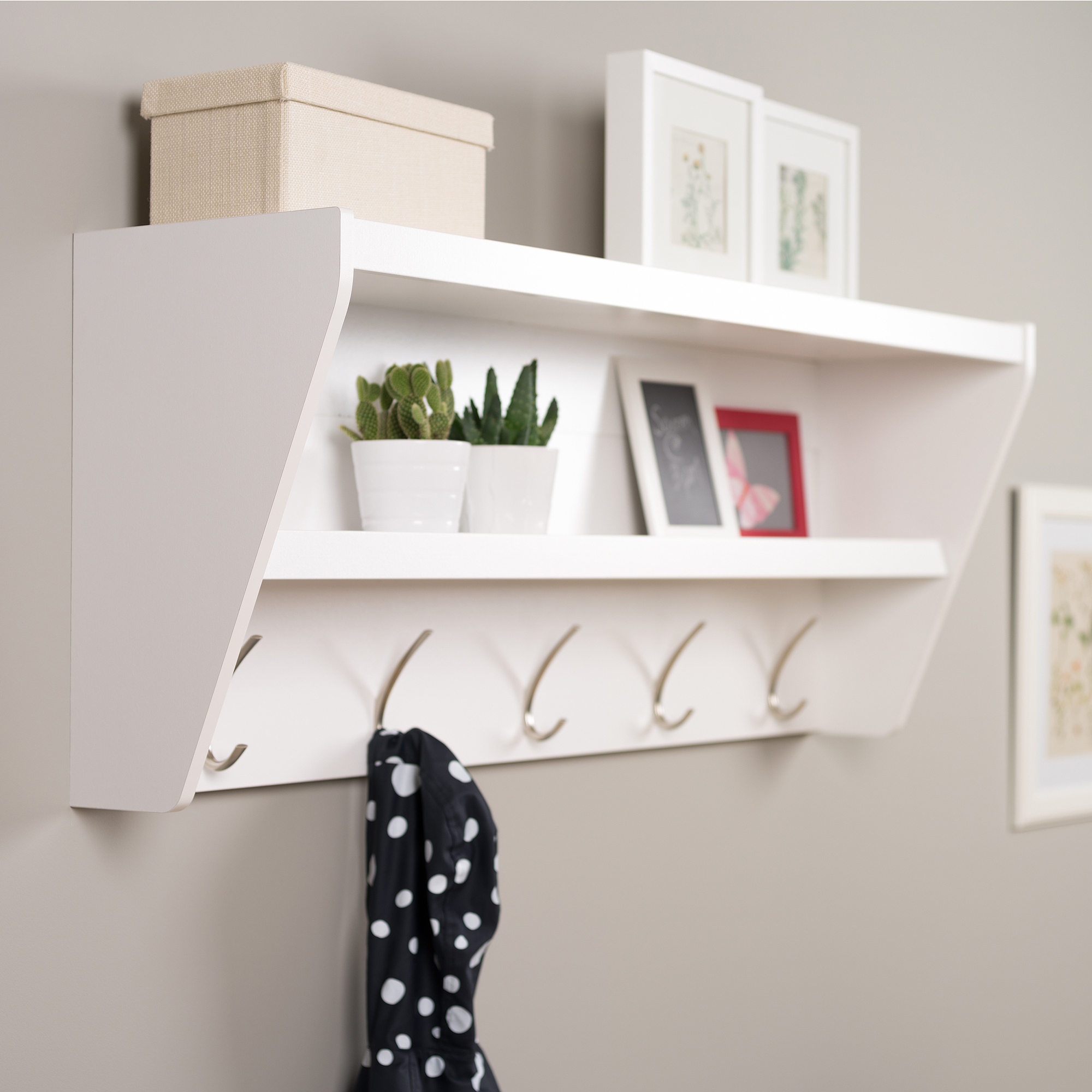 prepac floating entryway shelf and coat rack wooden wall hooks velcro removable adhesive hanging strips office racks mounted breakfast bar bracket supports lack ikea shelves thin