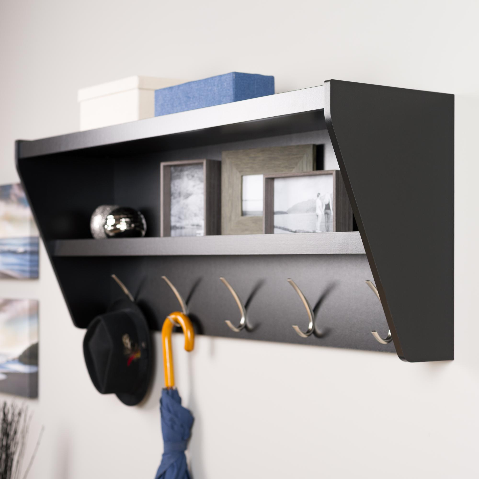 prepac floating entryway shelf coat rack black spin prod and office racks wall mounted modern display shelves height above counter command strips for hanging french cleat strength