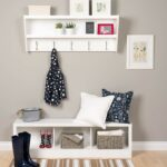 prepac modern bench and wall mounted coat rack white floating entryway shelf with kitchen dining mount cable box work shelving ideas installing linoleum tiles target book shelves 150x150