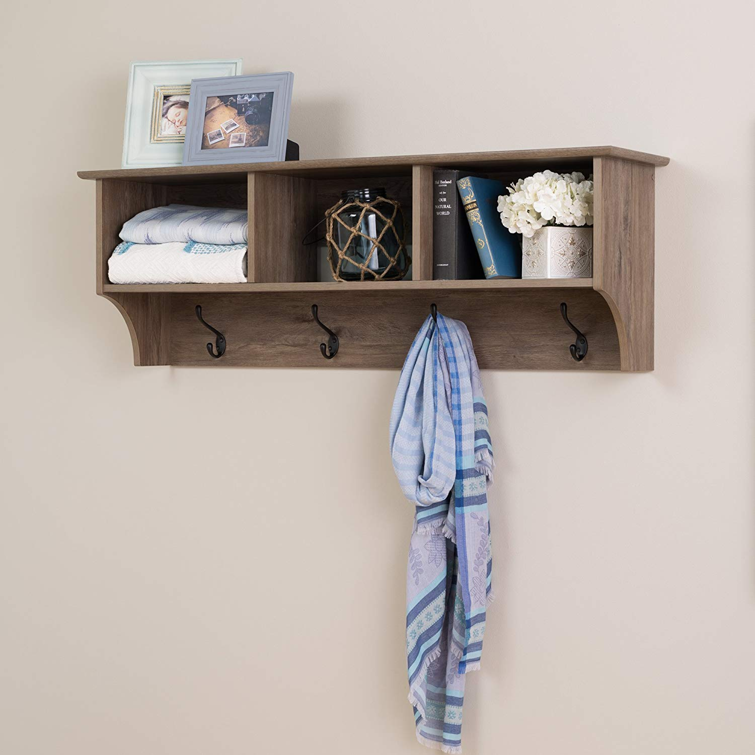 prepac wide hanging entryway shelf inches floating with bench drifted gray kitchen dining shelves dimensions storage fitting brackets for beam original bookcase white coat hook