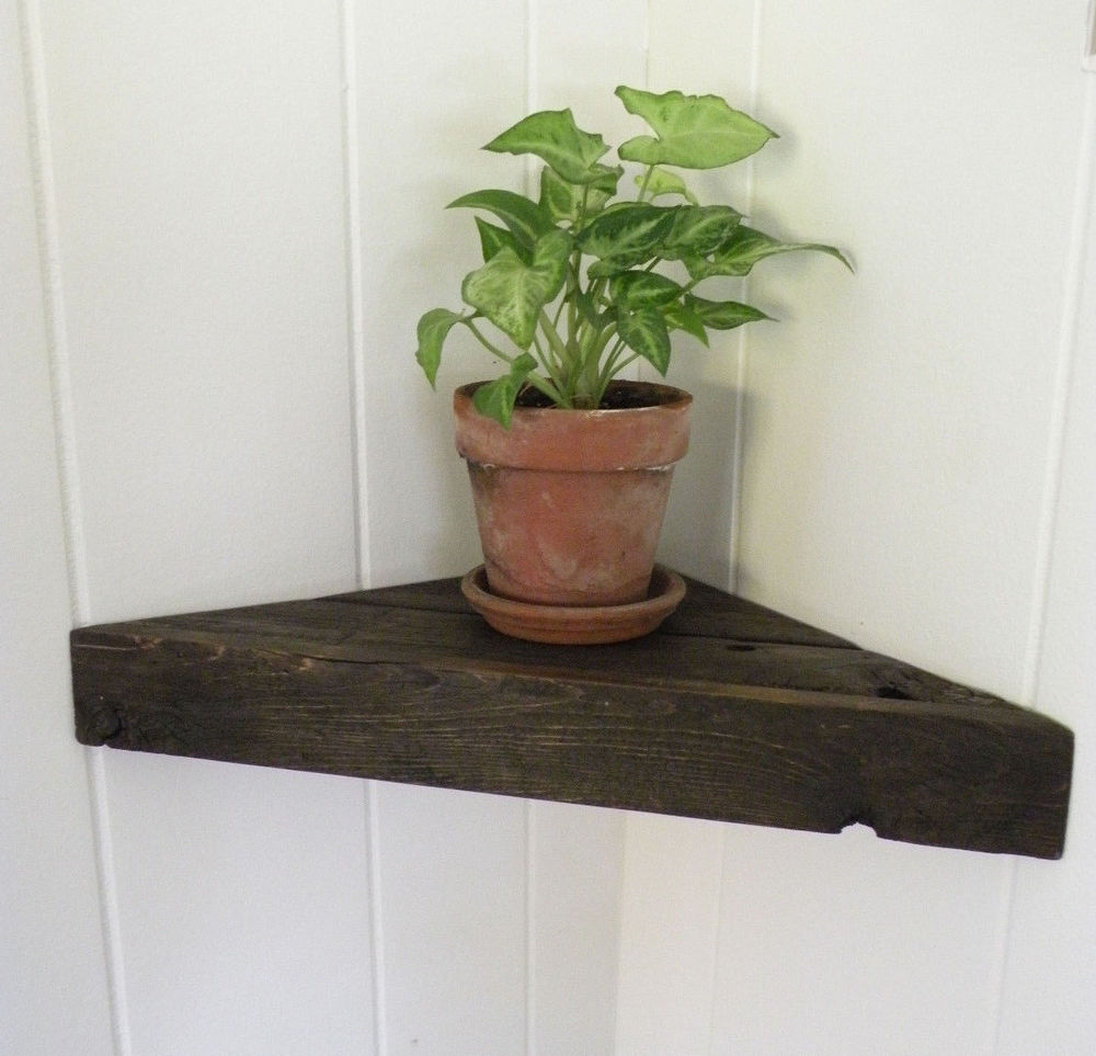reclaimed barn wood floating corner shelf rustic chic primitive cabin country standard height for upper kitchen cabinets command nails chenille fabric sofa designs small spaces