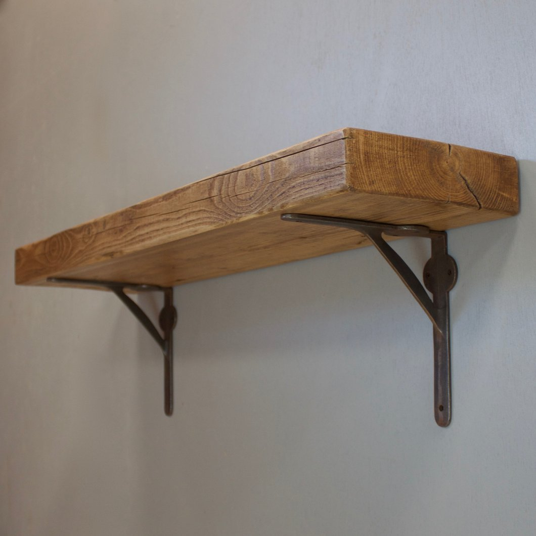 reclaimed timber beam floating shelf with industrial supports the support bracketsimg brackets coat rack rail closet organizer wood media stackable shoe storage inch shelving unit