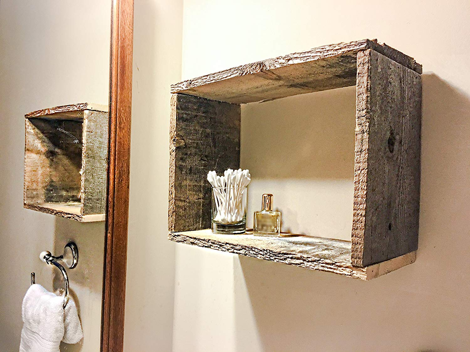 reclaimed wood rectangular floating box shelf handmade large kitchen island with seating shower cubicle space between counter and cabinets lack installation create shelves
