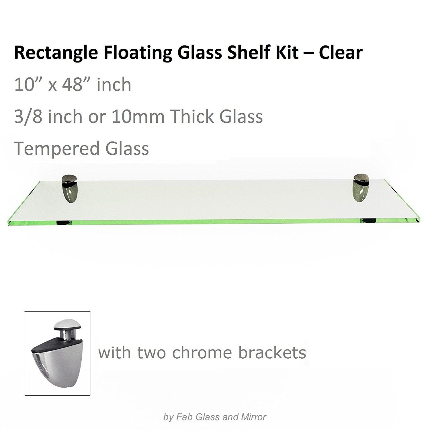 rectangle floating glass shelf kit tempered thick inch with free chrome brackets see this great shelves heavy duty wall rustic iron funky white bronze for entertainment center