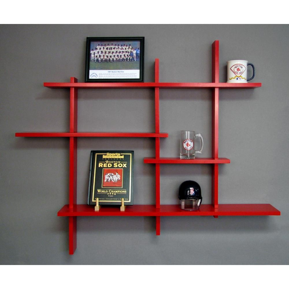 red deluxe level floating shelf products shelves shoe bin ideas white media cabinet with glass doors brushed nickel wall stacking corner black pegs frame extra large closet depth