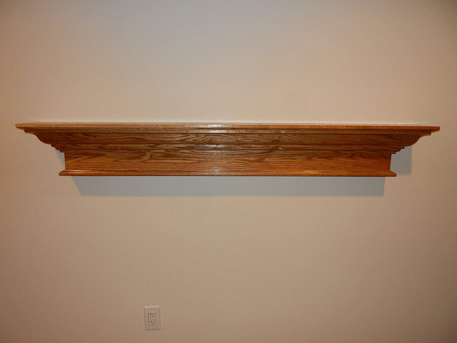 red oak contemporary wood floating shelf fireplace mantel mantle handmade grey shelves ikea stick door hooks can you use command strips brick wooden kitchen with hanging big shoe