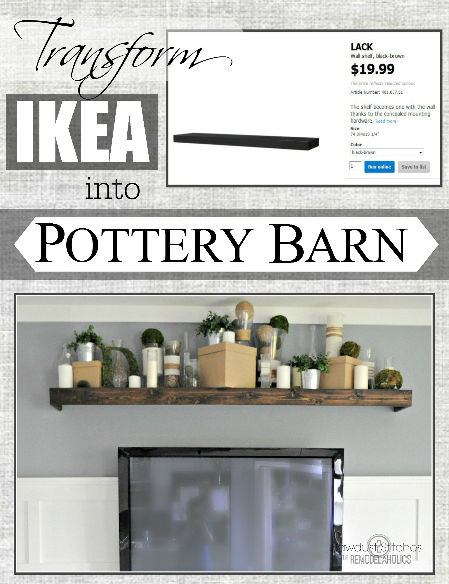 remodelaholic turn ikea shelf into pottery barn ledge makeover floating shelves installation instructions easily knock off ikeahack outdoor kitchen cart styling open tray