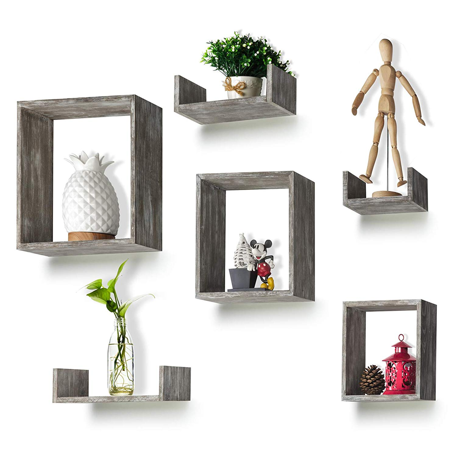 round rich floating shelves set rustic wood wall melannco grey with square boxes and small for free grouping home kitchen temporary hooks floor shoe holder steel decorative