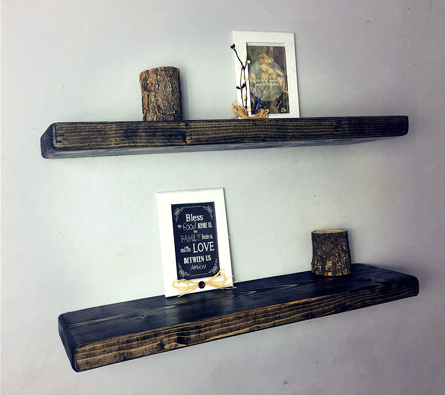 rustic black ebony floating shelves the falling tree gray handmade fireplace mantel shelf brackets kitchen cabinet open end hang ture wall without damage mirrored over sink