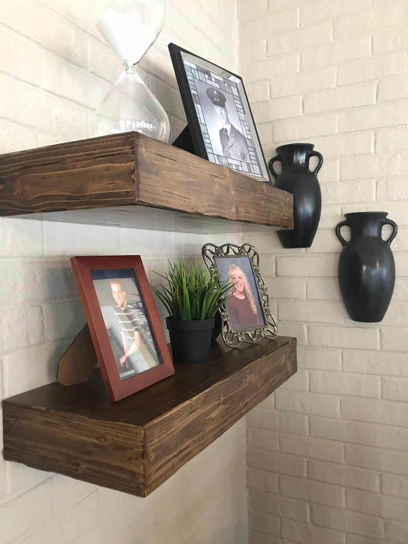 rustic foating shelves inches deep floating shelf open etsy mlgr inch shelving brackets and railway sleeper mantle hidden gun safe plans high unit wall bedside bathroom storage