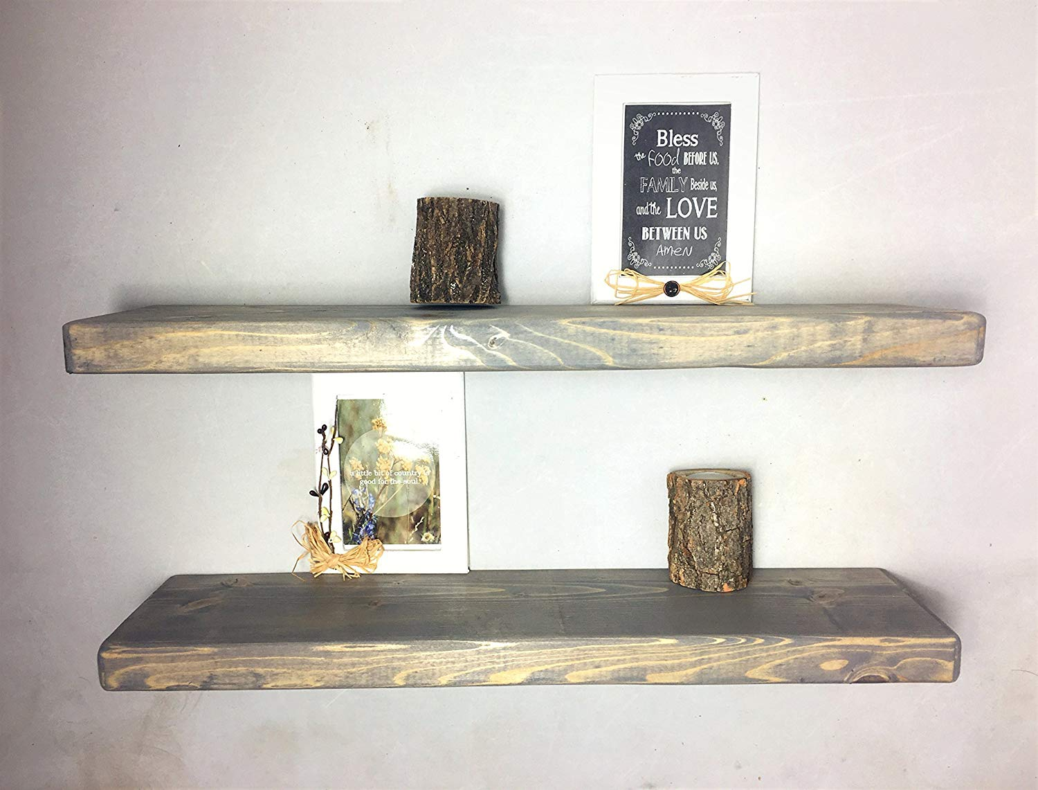 rustic gray floating shelves the falling tree handmade kitchen nursery beach coffee table small bathroom vanity with sink stools target red and black living room decorating ideas