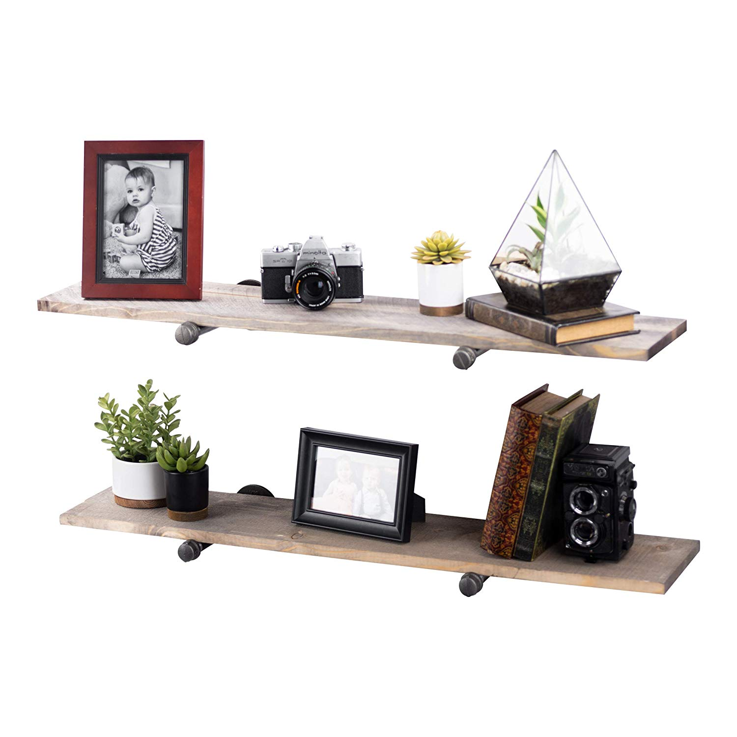 rustic industrial pipe decor floating shelving pack shelves gray distressed aged wood and iron pipes bracket wall mounted hanging shelf reclaimed barnwood television consoles