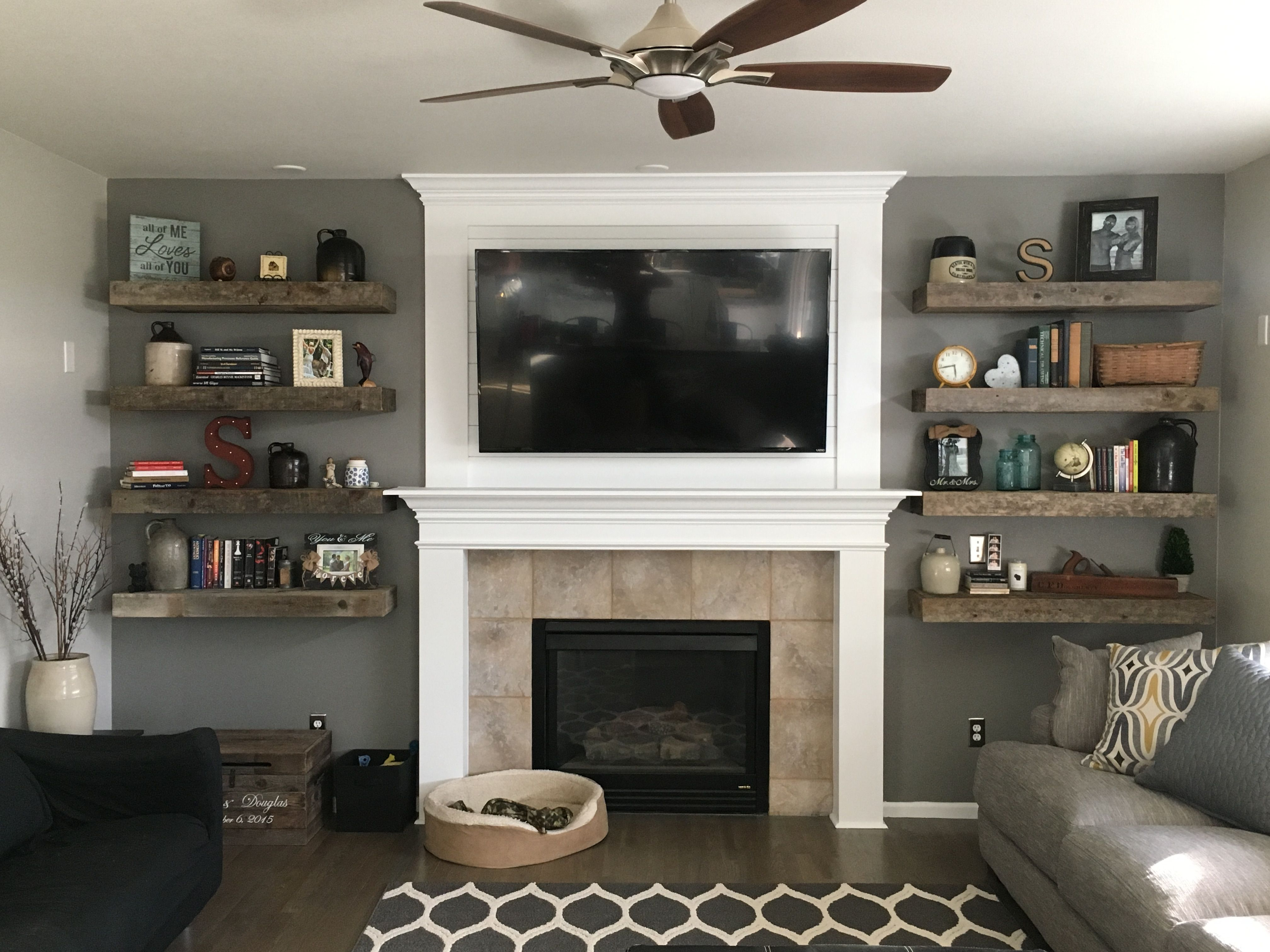 rustic living room barnwood floating shelves shiplap fireplace shelf over books and decor home sweet husband did the cherry kitchen island with seating bookcase desk diy solid