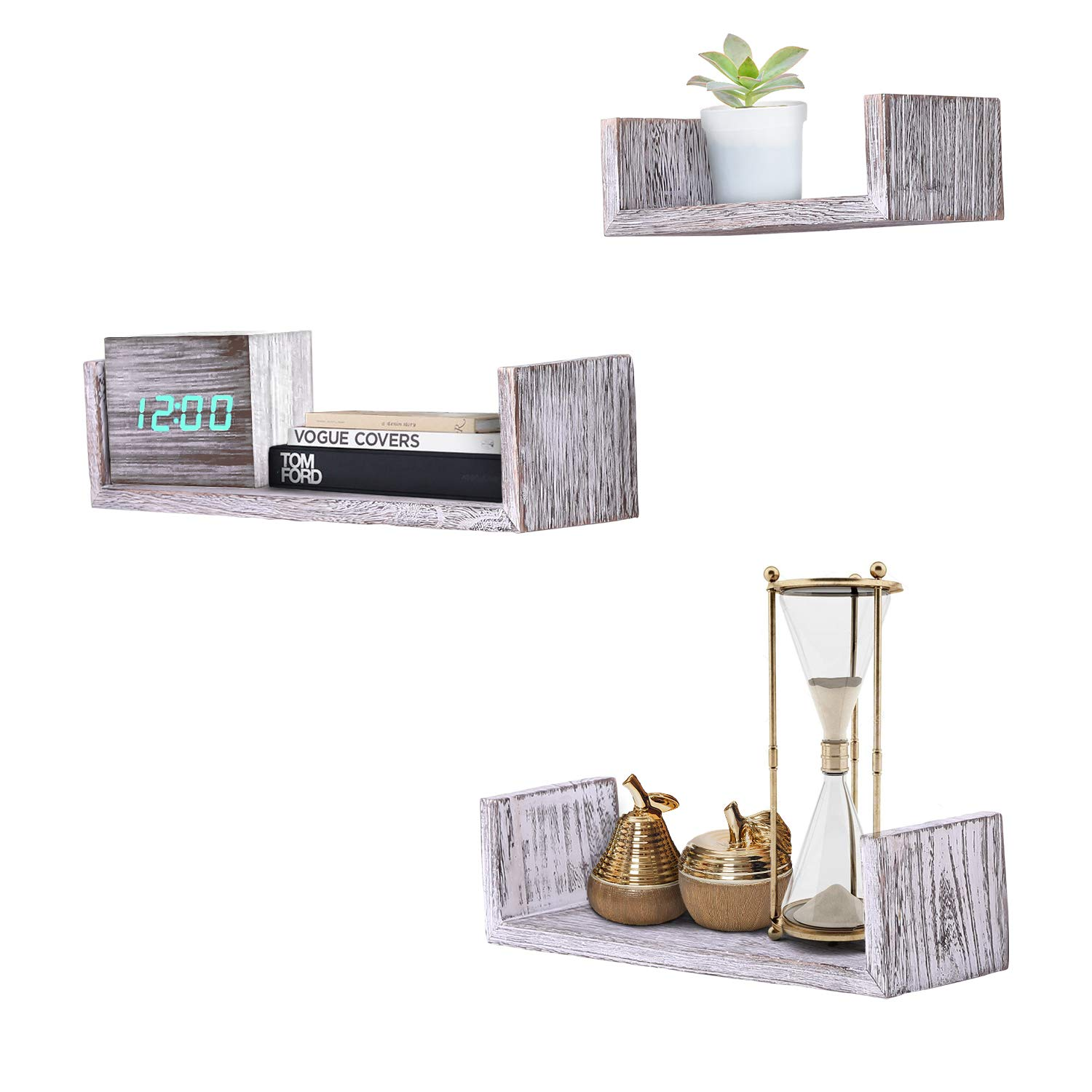 rustic wall mounted shaped floating shelves set large medium and small screws anchors included farmhouse for bedroom oak beam adjustable cable box mount stainable diy tutorial