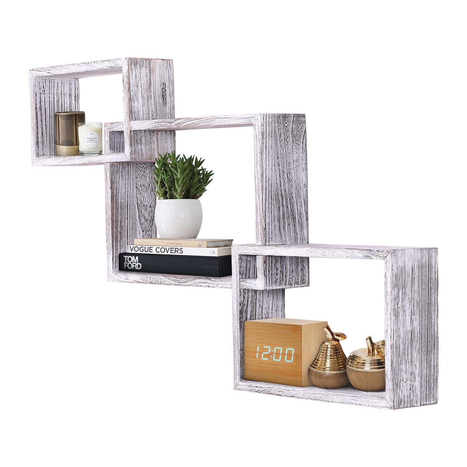 rustic wall mounted tier square shaped floating shelves white shelf set screws and anchors included farmhouse wooden for bedroom living room wash basin with cabinet asymmetrical